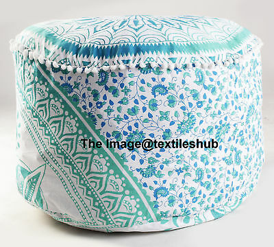 Indian Ombre Mandala Ottoman Pouffe Foot Stool Pouf Round Floor Pouf