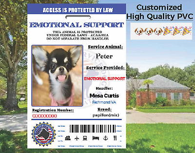 SERVICE DOG ID ADA Service Dog Card ID Badge Assistance Animal Badge ESA