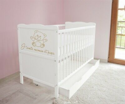 New White Wodden Baby Cot Bed / mattress / teething rails / drawer  3x1