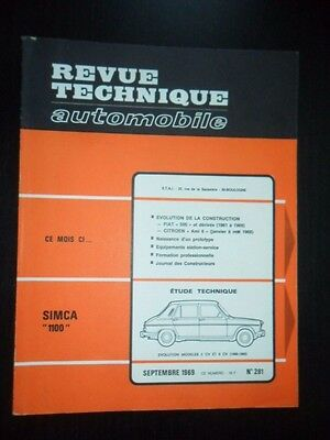 REVUE TECHNIQUE AUTOMOBILE RTA 281 SIMCA 1100 Evo FIAT 500 110F CITROEN Ami 6