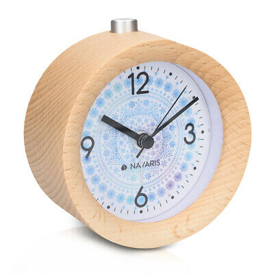 Battery-Powered Analogue Wooden Alarm Clock - Light Brown Wood, Arctic Snowflake