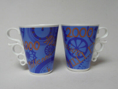 Pair of Rare Collectible Johnson Brothers Bone China Millennium Mugs Blue