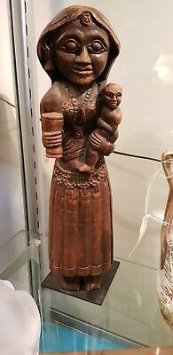 Carved Tribal Figure of Woman and Child Wooden