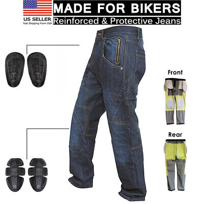 Motorcycle Knee Armour Biker Denim Trouser Pant Aramid Protective Lined Jeans