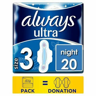 Always Ultra Night Size 3 Sanitary Towels With Wings 20