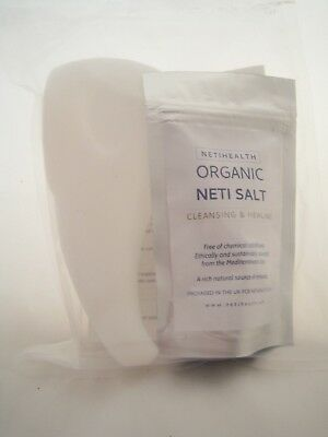NetiHealth™ Plastic Neti Pot + 200g UK Organic Neti Salt, Yoga,Sinus Cleansing