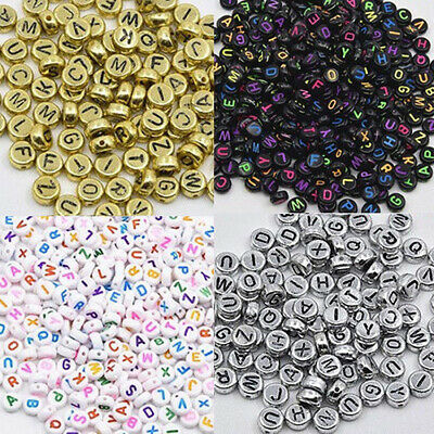 100Pcs Spacer Acrylic Beads Cube Alphabet Letter Bracelet Jewelry Making DIY HOT