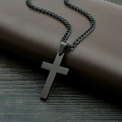 Stainless Steel Cross Pendant Men Women Chain Necklace Religious Jewelry Gift HO