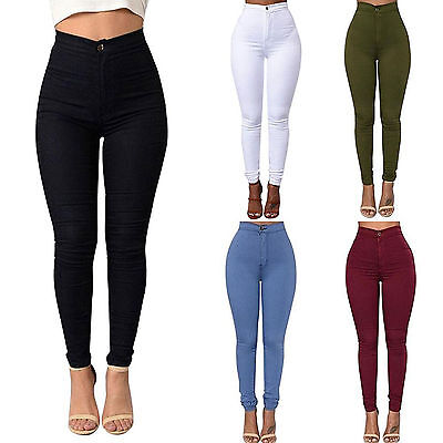 Womens Skinny Pencil Trouser Stretch Casual High Waisted Jegging Long Pant Jeans