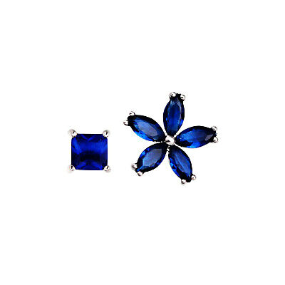Solid 925 Sterling Silver Dark Blue Sapphire CZ Flower Square Stud Earrings