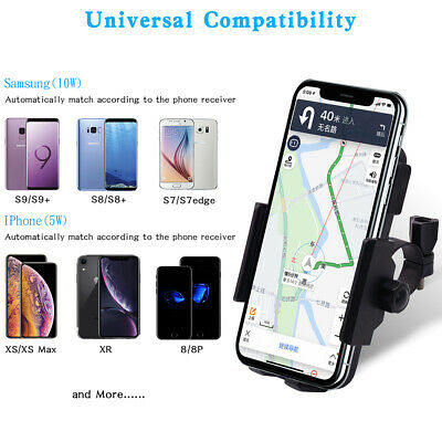 Motorcycle Handlebar Mirror Wireless Charger Stand For iphone Samsung 4.5-7 inch