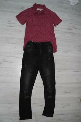 Boys Outfit black jeans, dark red T-shirt River Island 10 y.o Party