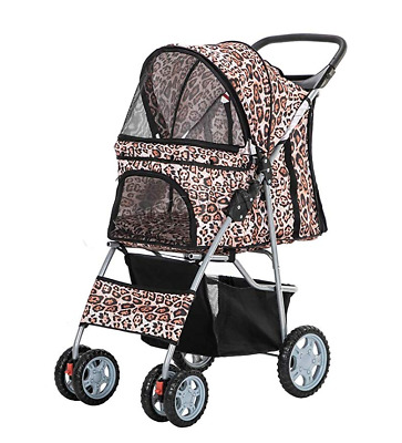 Leopard Print 4 Wheel Pet Dog Cat Stroller Pushchair Buggy Pram Animal Carrier