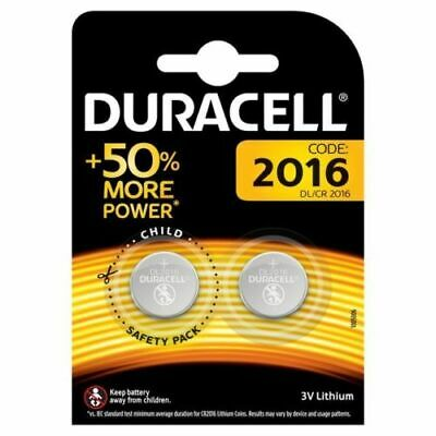 Brand New 2 x Duracell CR2016 3V Lithium Coin Cell Battery 2016 DL2016 BR2016