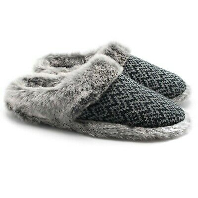 212b9cd71a928 ofoot Women's Cashmere Knit Slippers,Faux Fur Memory Foam Indoor/Outdoor  Shoes