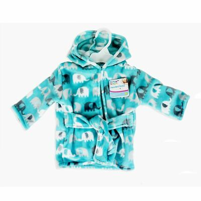 First Steps Baby Hooded Robe One Size Elephant design Blue Dressing Gown