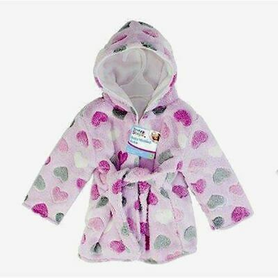 First Steps Baby Hooded Robe Pink Hearts One Size Dressing Gown