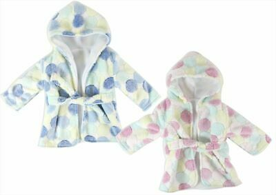 First Steps Baby Hooded Robe Blue Dots One Size  Dressing Gown