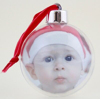 36 Christmas Blank Clear Photo Baubles Gift, Xmas Tree Snow Globes