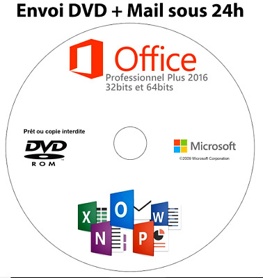 Microsoft Office 2016 Pro Plus Licence RETAIL 1Pc 32/64bit DVD d'installation