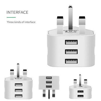 UK Mains Wall 3 Pin Plug Adapter Charger Power 3 USB Port For Phones Tablets