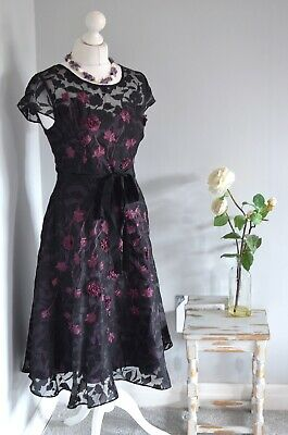 PHASE EIGHT Black/purple lace floral flare skater ballgown dress 12