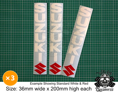 Suzuki Fork Stickers x3 Decals GSX-R 750 600 1000 GSF Bandit  36 COLOURS!