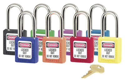 Non-Conductive Zenex Lockout Padlocks 6-Pin Master Keyed - Blue, Green, Red