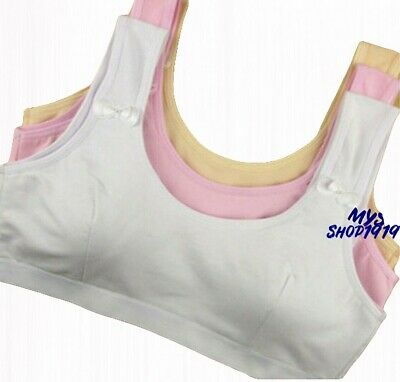 3 pack Girls Crop Top Bra COTTON Back Underwear White Age 10 11 12 13 14 15 yrs