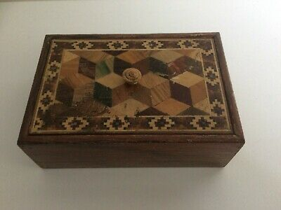 Antique Victorian Tunbridge Ware Rectangular Trinket Box.