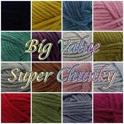 King Cole Big Value Super Chunky Acrylic Knitting Crochet Yarn Wool 100g
