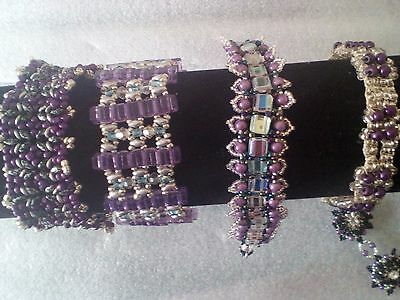 4 Purple  bracelets in 4 designs all Hand Crafted