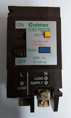 Crabtree C-50 30 Amp 30mA D.P RCCB  5130//030 Live Tested M4.5 Type 2 BS4293