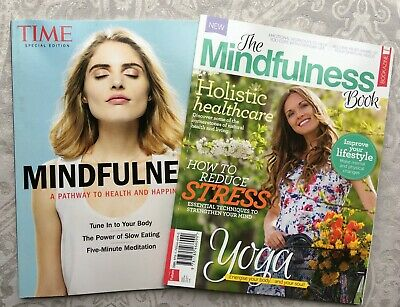 TWO Mindfulness Books Magazines Time Special Edition Yoga Pilates Reduce Stress