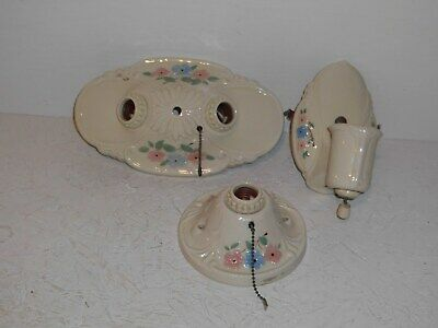 Set of 3 matching Porcelier light fixtures.