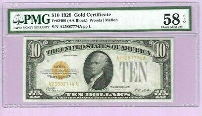 Fr.2400 1928 $10.00 Gold Certificate Graded Pmg58 Epq