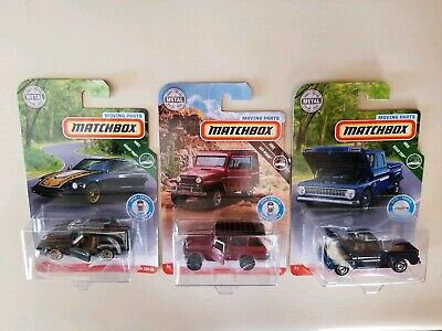 2019 Matchbox Moving Parts Datsun 280ZX, 62 Jeep Willys Wgn, 63 Chevy C10 Pickup