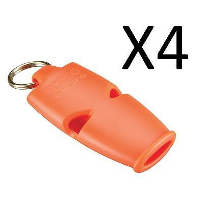 Fox 40 Micro 3-Chamber Pealess Whistle with Lanyard, Orange (4-Pack)