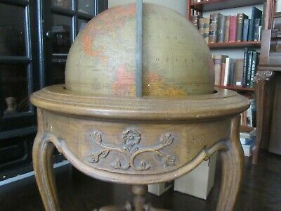 "Replogle 16"" Library World Globe Rare 1940's Brandt Oak Stand Antique Vintage"