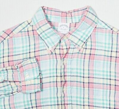 Mens BROOKS BROTHERS Button-Down Shirt L Sea Green Pink Navy Plaid Irish Linen