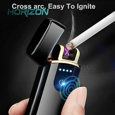 Electric Lighter Touch Sensor USB Rechargeable Double Arc Flameless Windproof