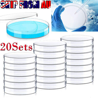 20Set 90mm Sterile Plastic Petri Dishes Plate For Lab Bacterial Yeast OZ