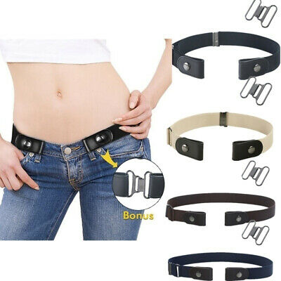 Buckle-free Elastic Womens Leather Invisible Belt For Jeans No Bulge No Hassle