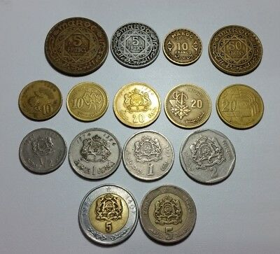 Morocco 15 different coins Francs Santimat & Dirham various currency series