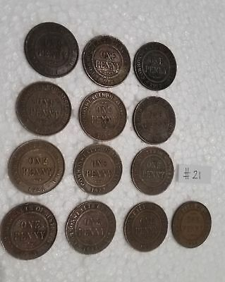 Bulk lot 13 different KGV Australian Penny coins King George Fifth Pennies (#21)