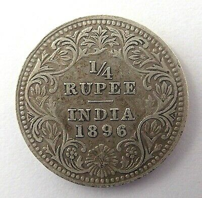 India  1896  1/4 Rupee Silver Coin  -  Mid Range Quality