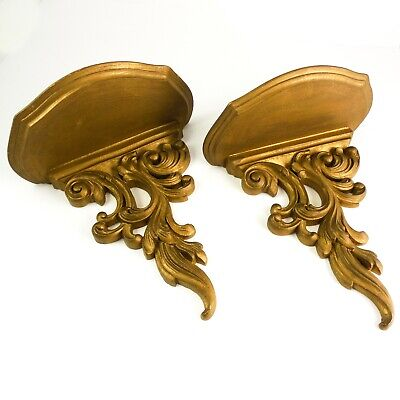 FINE Pair Vintage Ornate Wall Shelf / Sconce - Gold Ornate Scroll Design