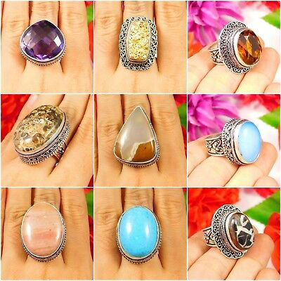 Multi Stone .925 Silver Plated Hand Carving Ring Size-7.50 Jewelry JC3286-3322
