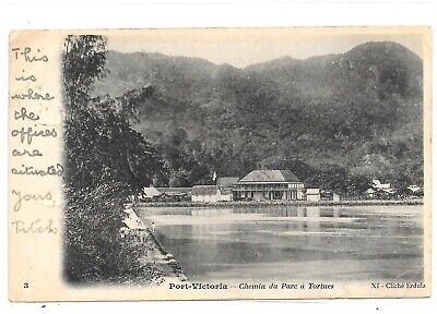 SEYCHELLES POSTCARD PORT VICTORIA 6c POSTALLY USED TO GIBRALTAR