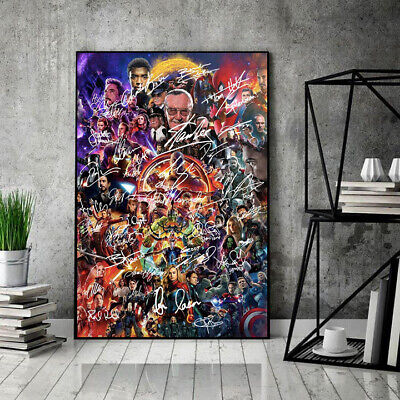 Stan Lee And Superheroes Characters Avengers Endgame Portrait Poster No Frame